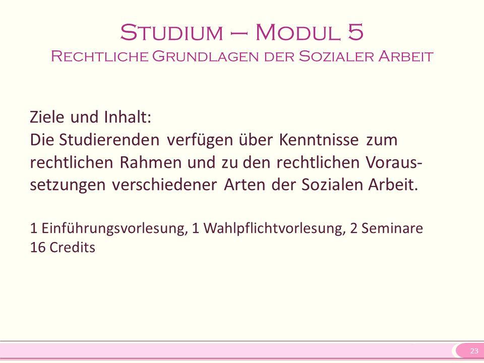 Studium – Modul 5 Rechtliche Grundlagen der Sozialer Arbeit
