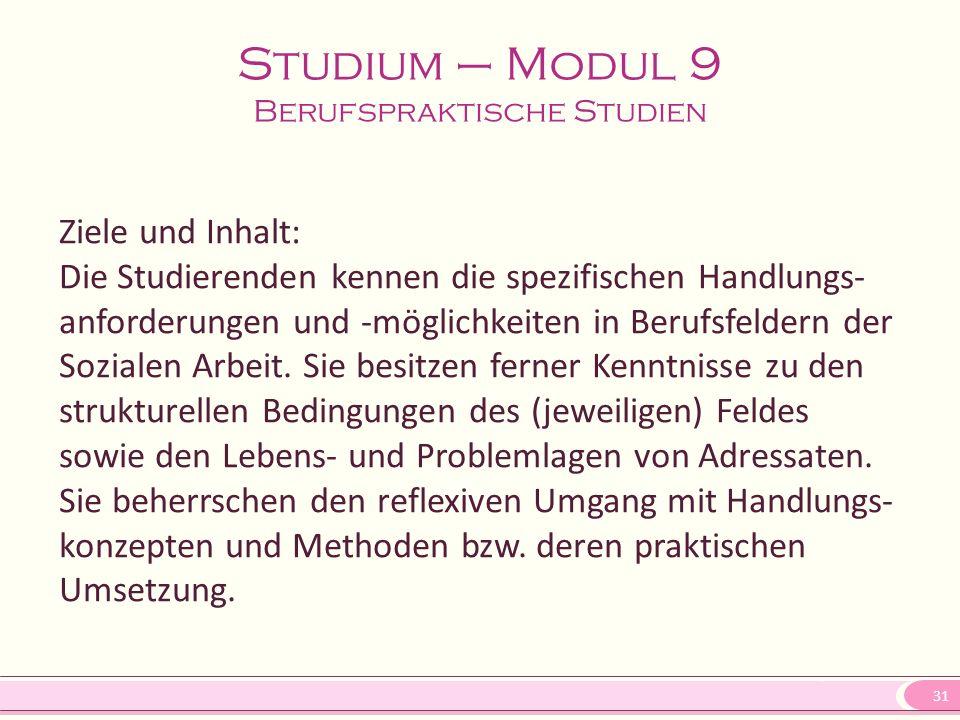 Studium – Modul 9 Berufspraktische Studien