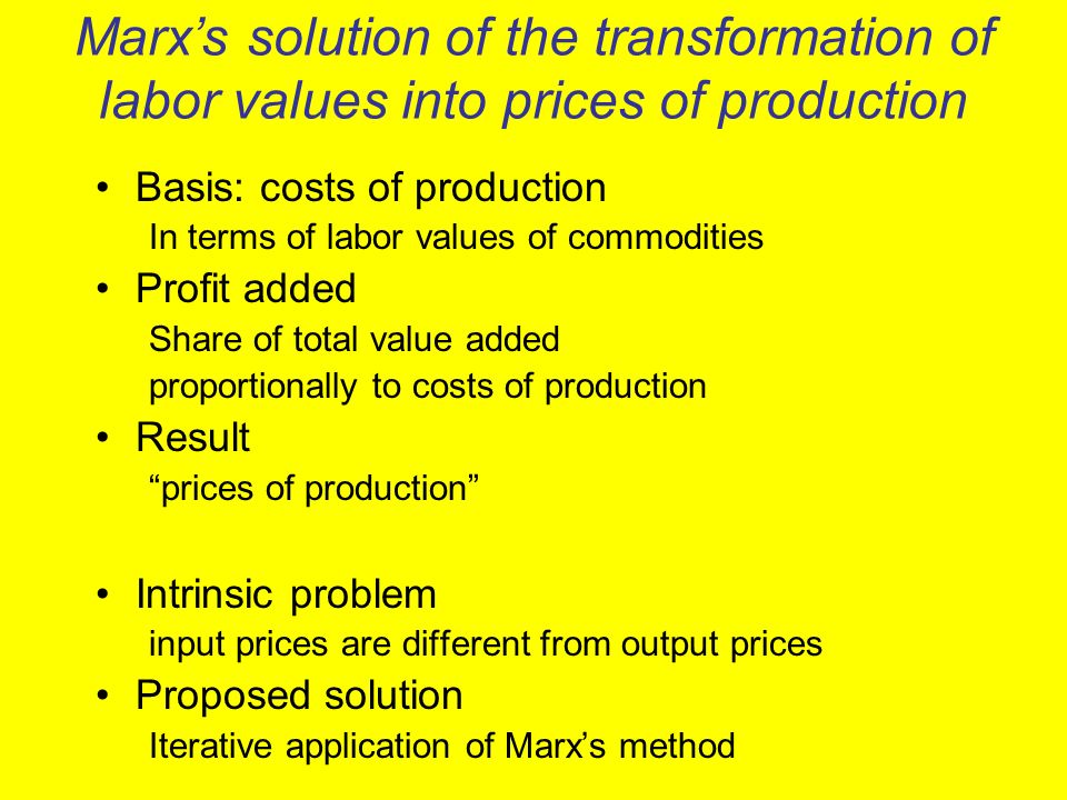 Marx's solution of the transformation of labor values into prices of production