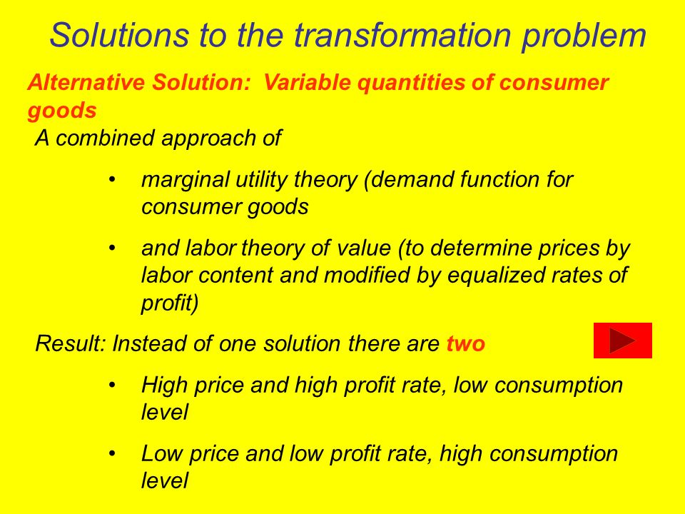 Solutions to the transformation problem