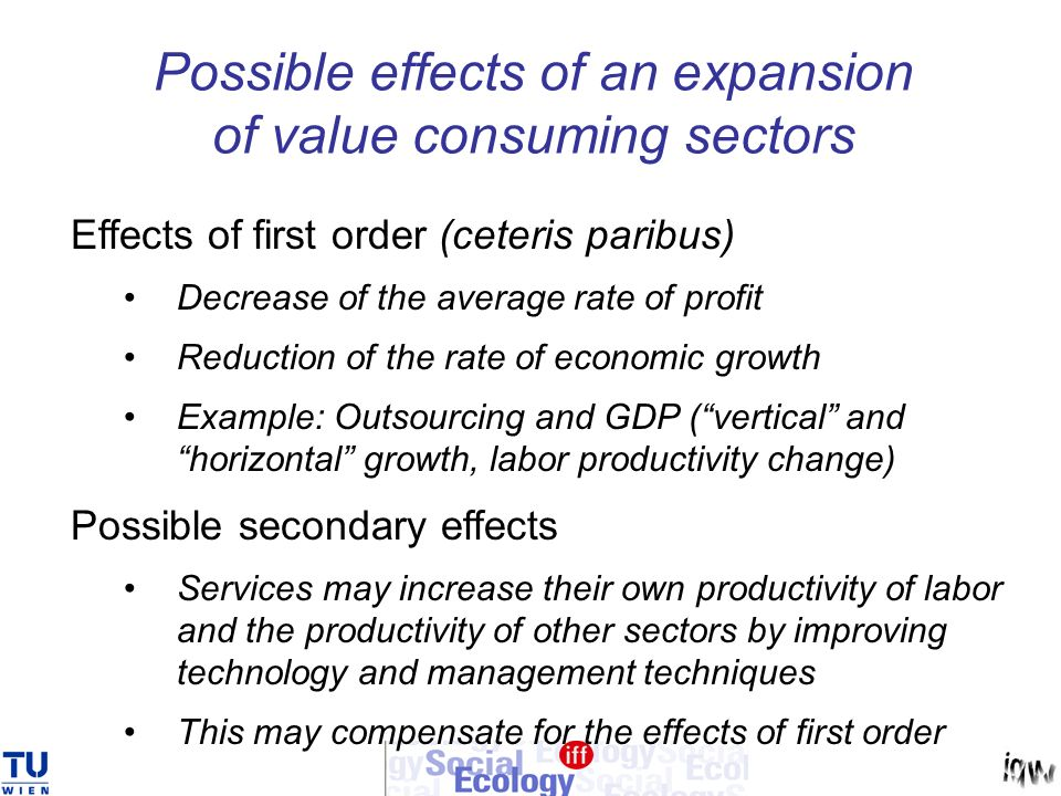 Possible effects of an expansion of value consuming sectors