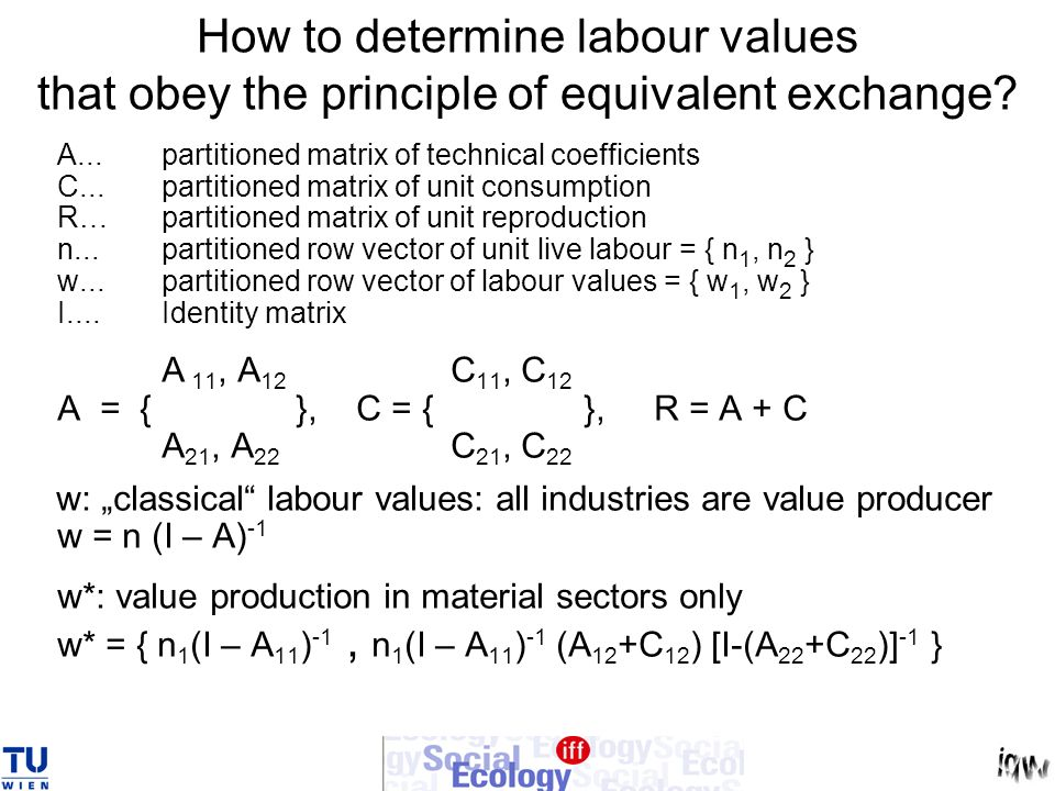 How to determine labour values that obey the principle of equivalent exchange