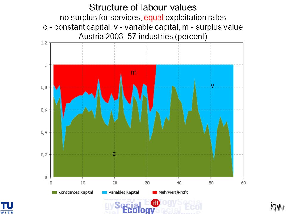 Structure of labour values no surplus for services, equal exploitation rates c - constant capital, v - variable capital, m - surplus value Austria 2003: 57 industries (percent)