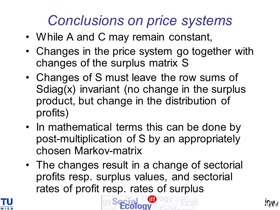 Conclusions on price systems