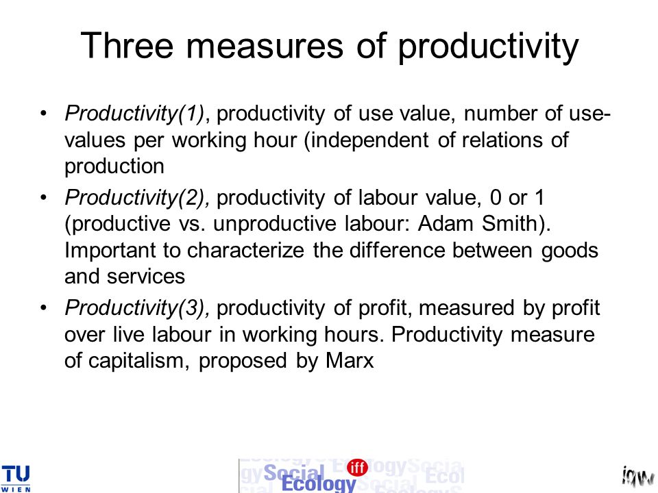 Three measures of productivity