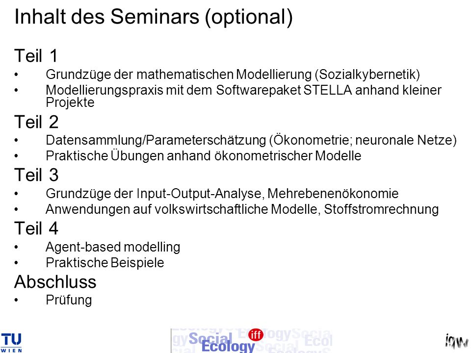 Inhalt des Seminars (optional)