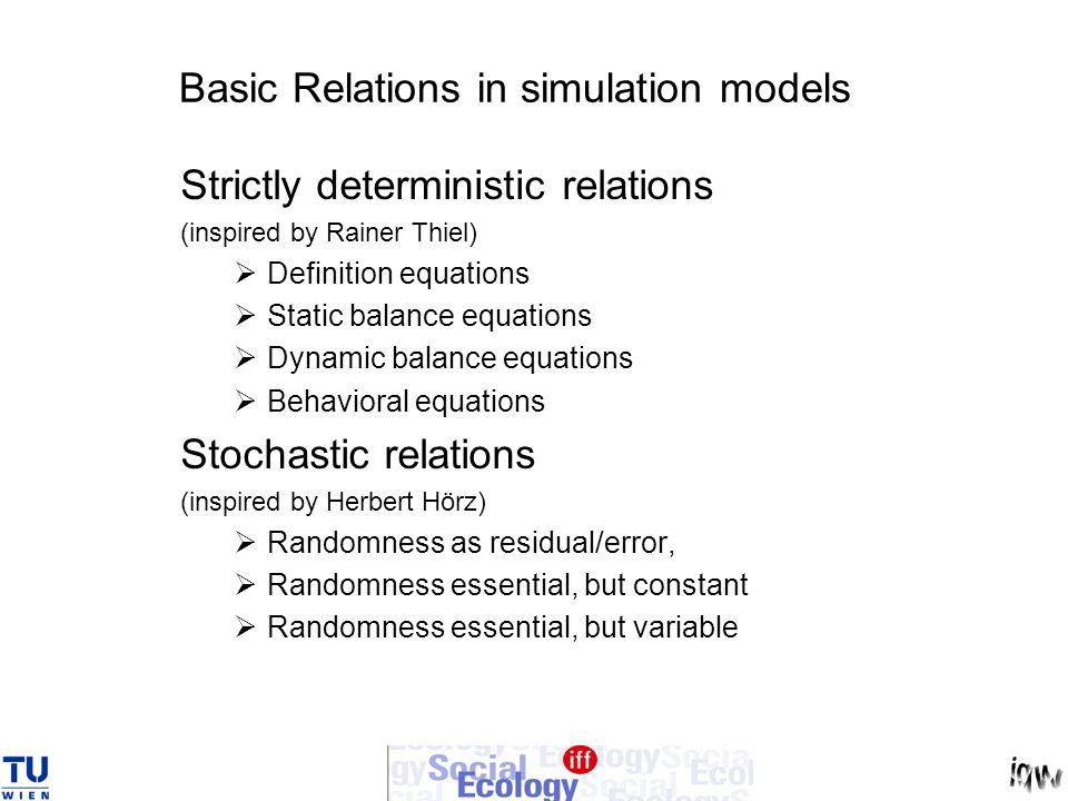 Basic Relations in simulation models