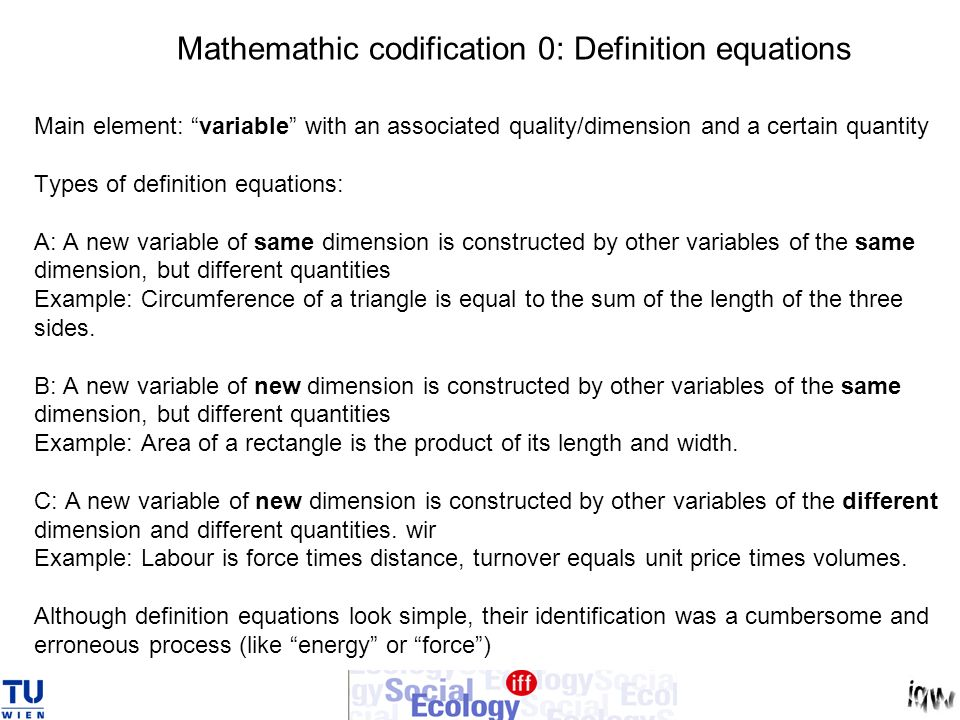 Mathemathic codification 0: Definition equations