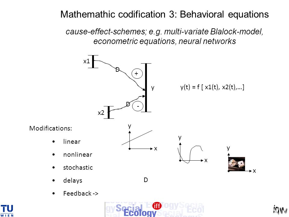 Mathemathic codification 3: Behavioral equations cause-effect-schemes; e.g. multi-variate Blalock-model, econometric equations, neural networks