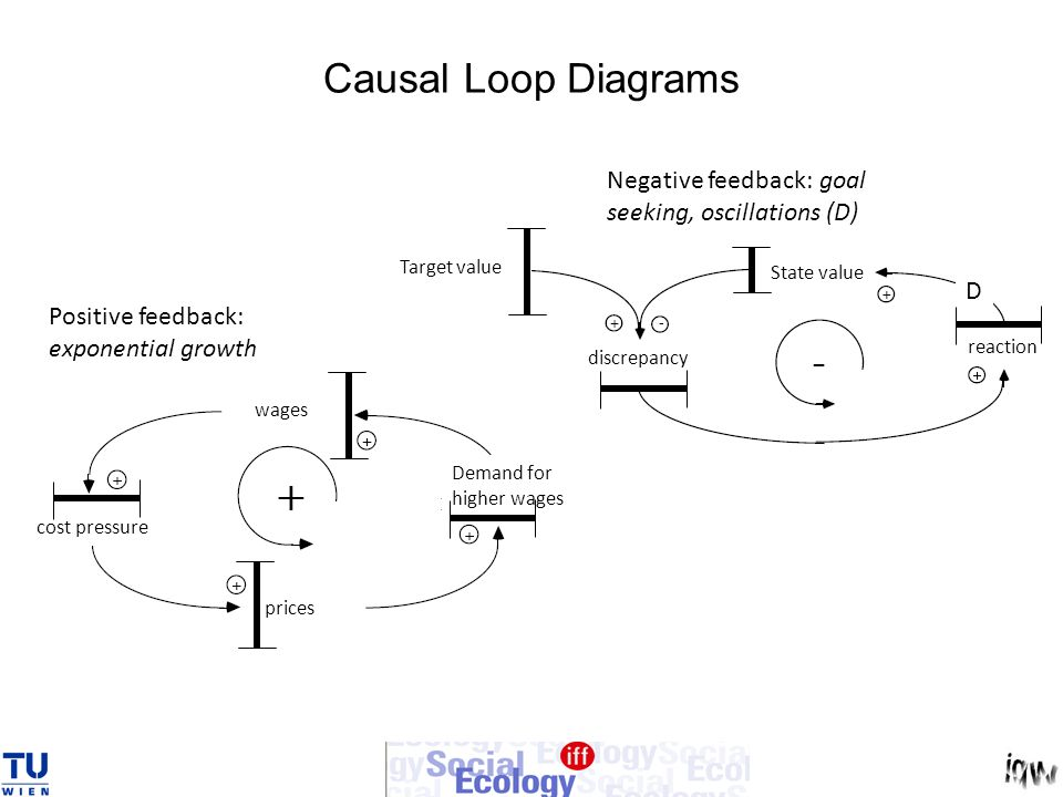 Causal Loop Diagrams Negative feedback: goal seeking, oscillations (D)