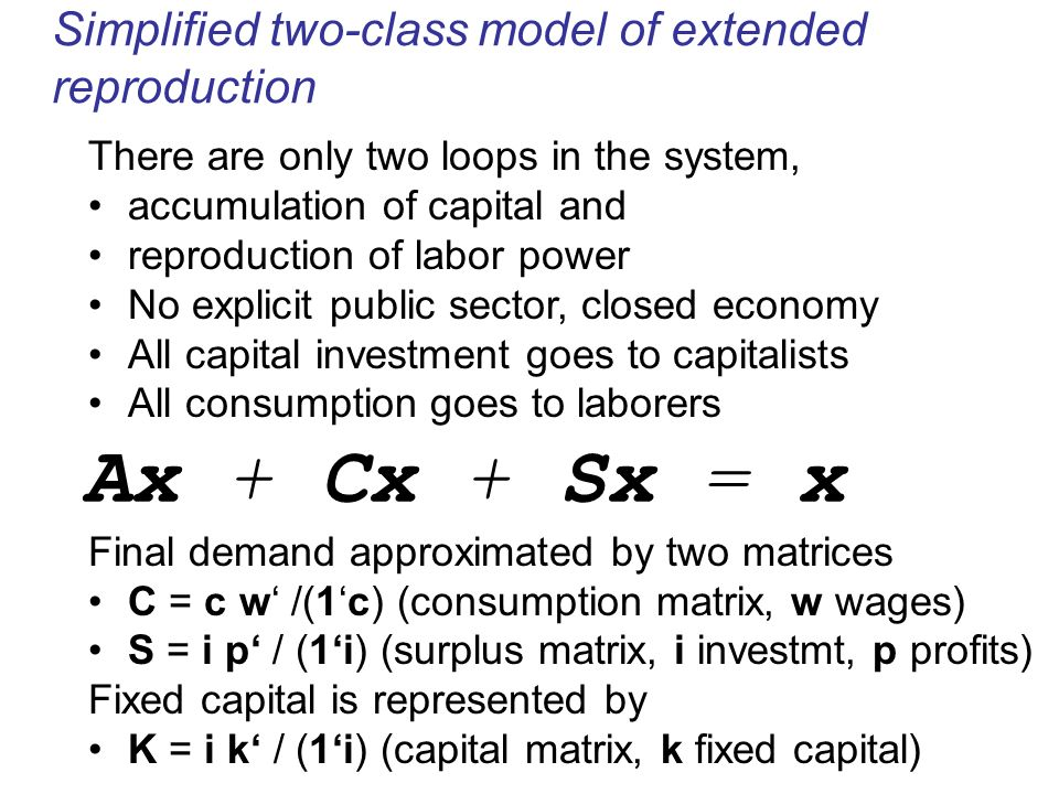 Ax + Cx + Sx = x Simplified two-class model of extended reproduction