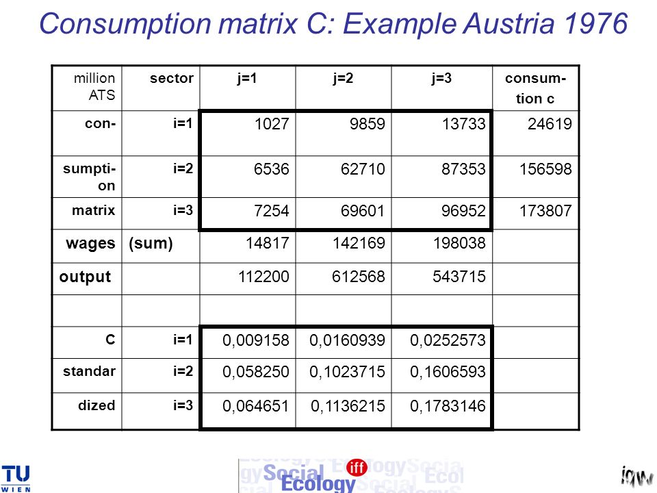 Consumption matrix C: Example Austria 1976