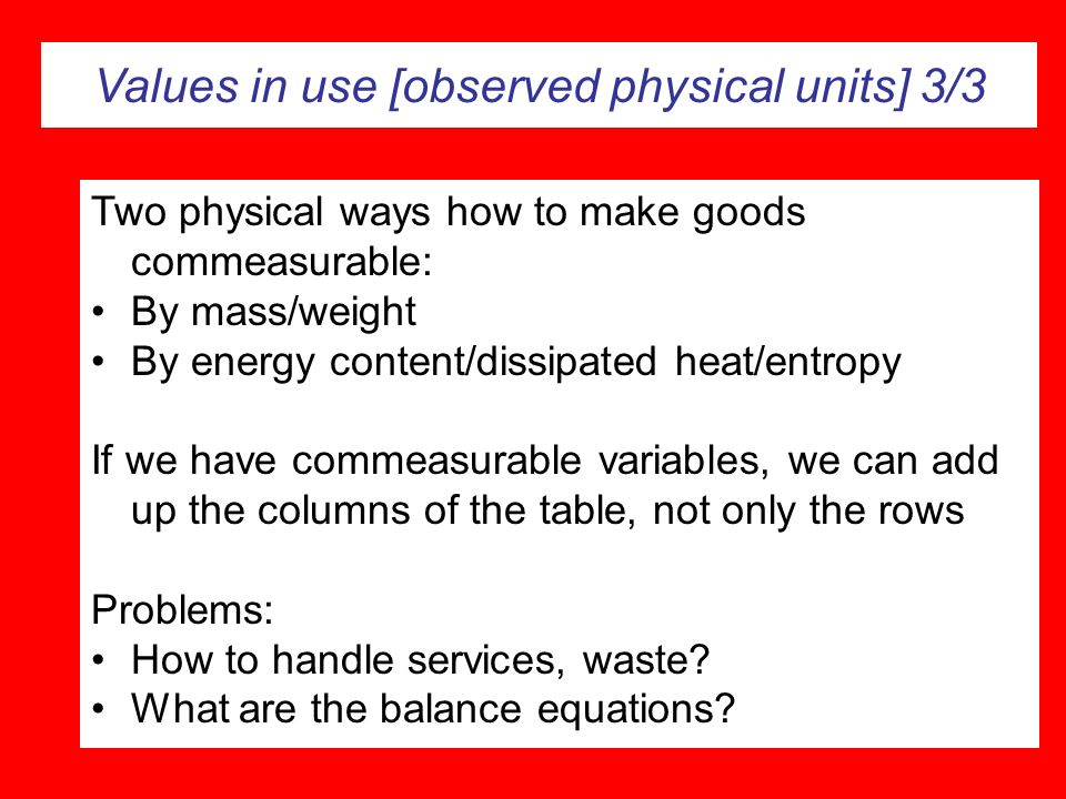 Values in use [observed physical units] 3/3