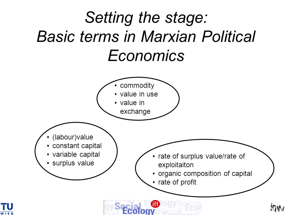 Setting the stage: Basic terms in Marxian Political Economics