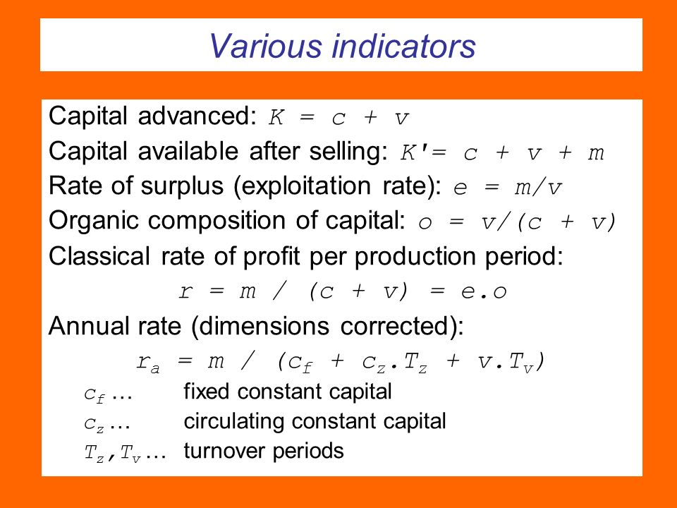Various indicators Capital advanced: K = c + v