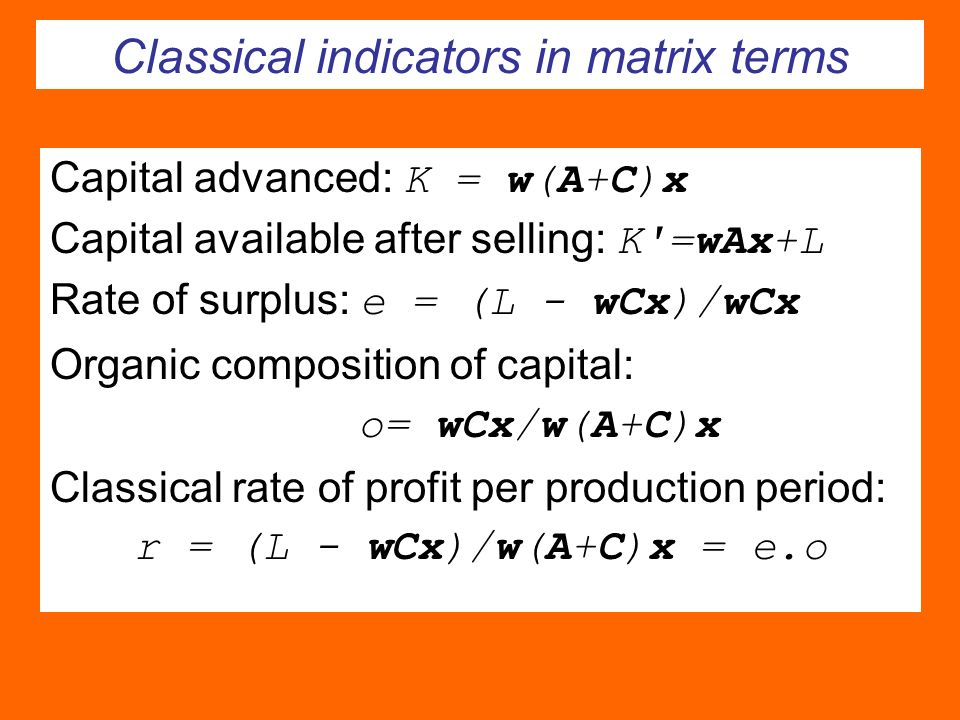 Classical indicators in matrix terms