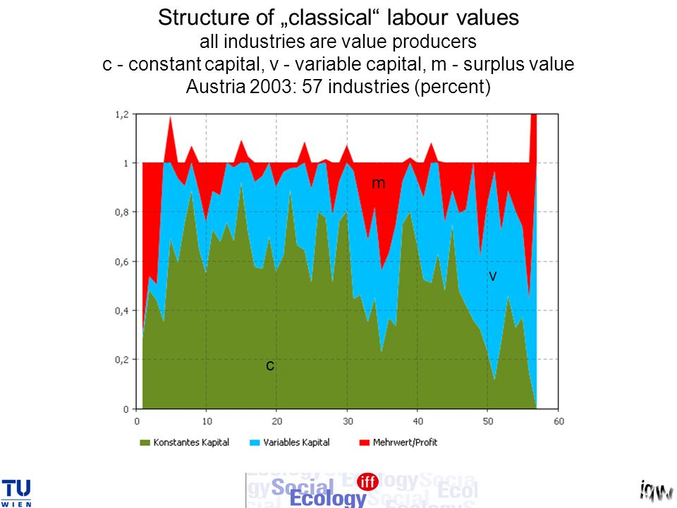 "Structure of ""classical labour values all industries are value producers c - constant capital, v - variable capital, m - surplus value Austria 2003: 57 industries (percent)"