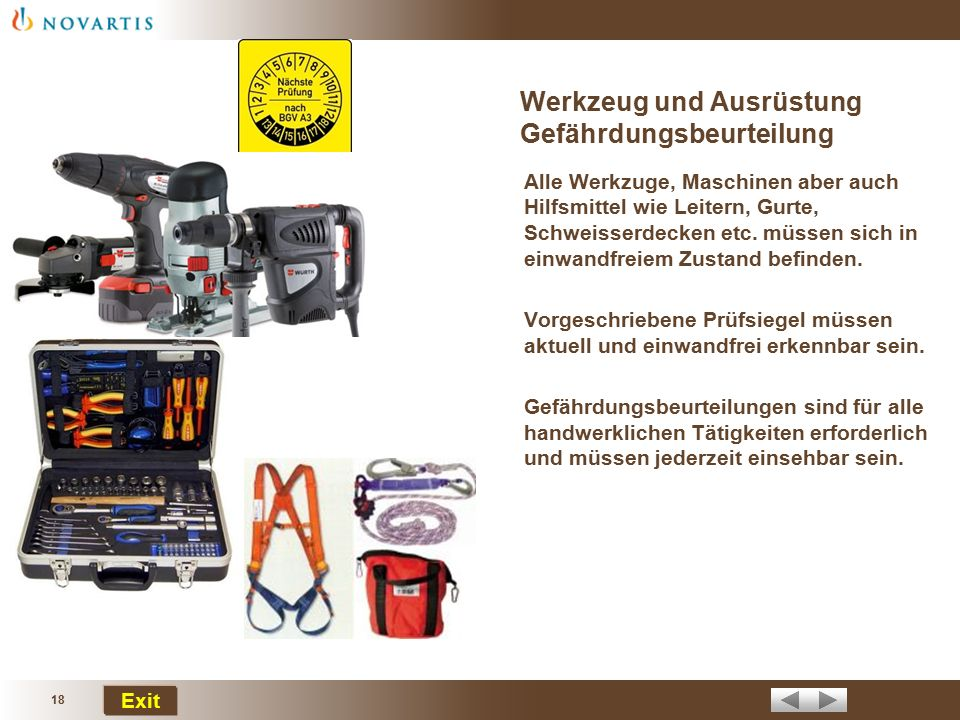 Werkzeug und Ausrüstung Gefährdungsbeurteilung