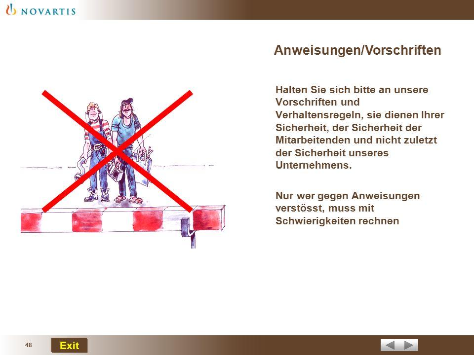 Anweisungen/Vorschriften