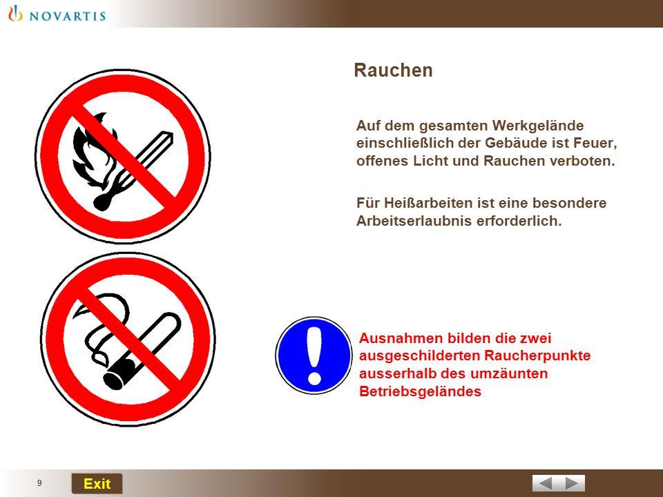 Rauchen Auf dem gesamten Werkgelände einschließlich der Gebäude ist Feuer, offenes Licht und Rauchen verboten.