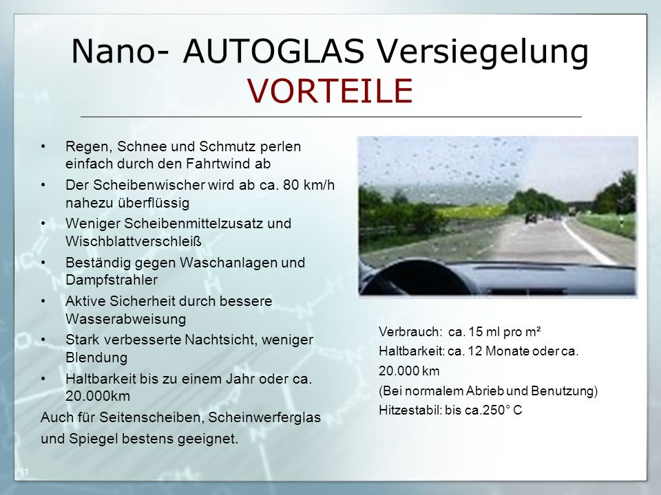Nano- AUTOGLAS Versiegelung VORTEILE