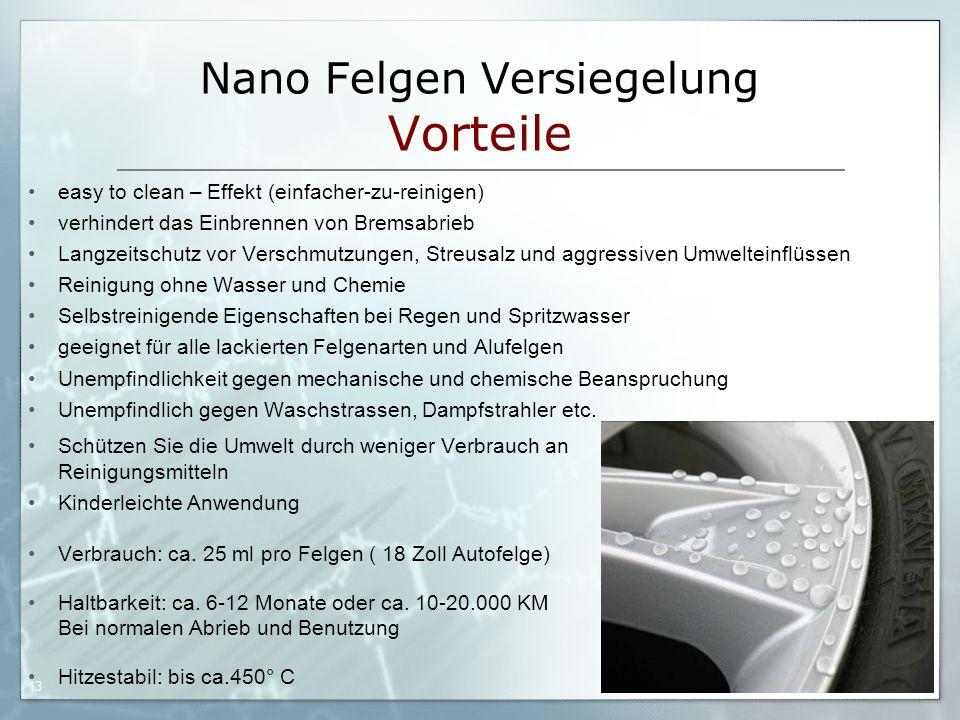 Nano Felgen Versiegelung Vorteile