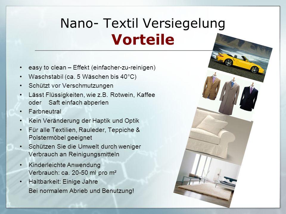 Nano- Textil Versiegelung Vorteile