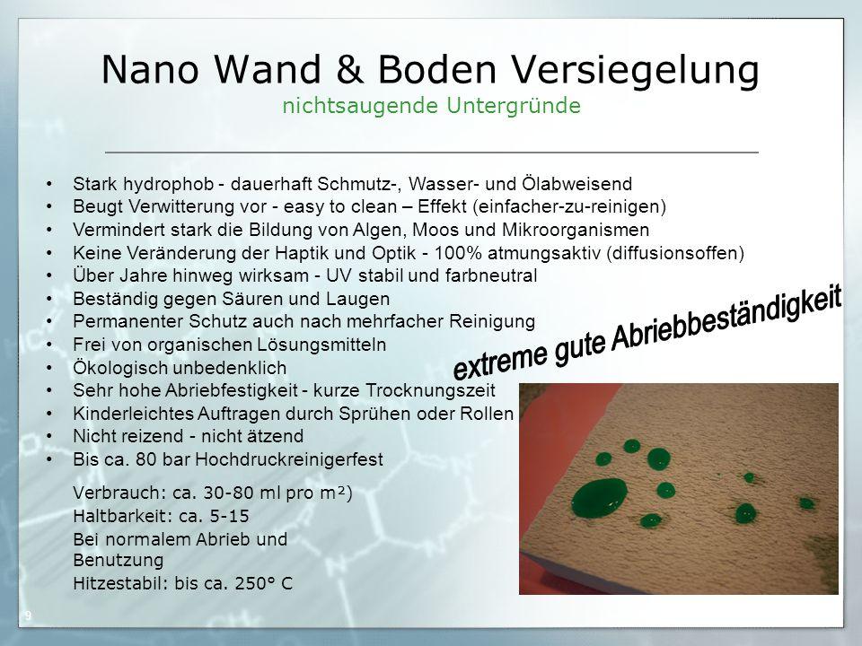 Nano Wand & Boden Versiegelung nichtsaugende Untergründe