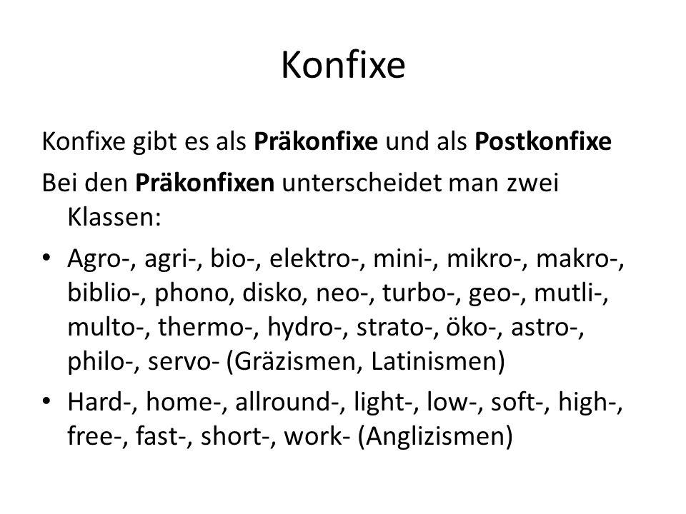 Konfixe Konfixe gibt es als Präkonfixe und als Postkonfixe
