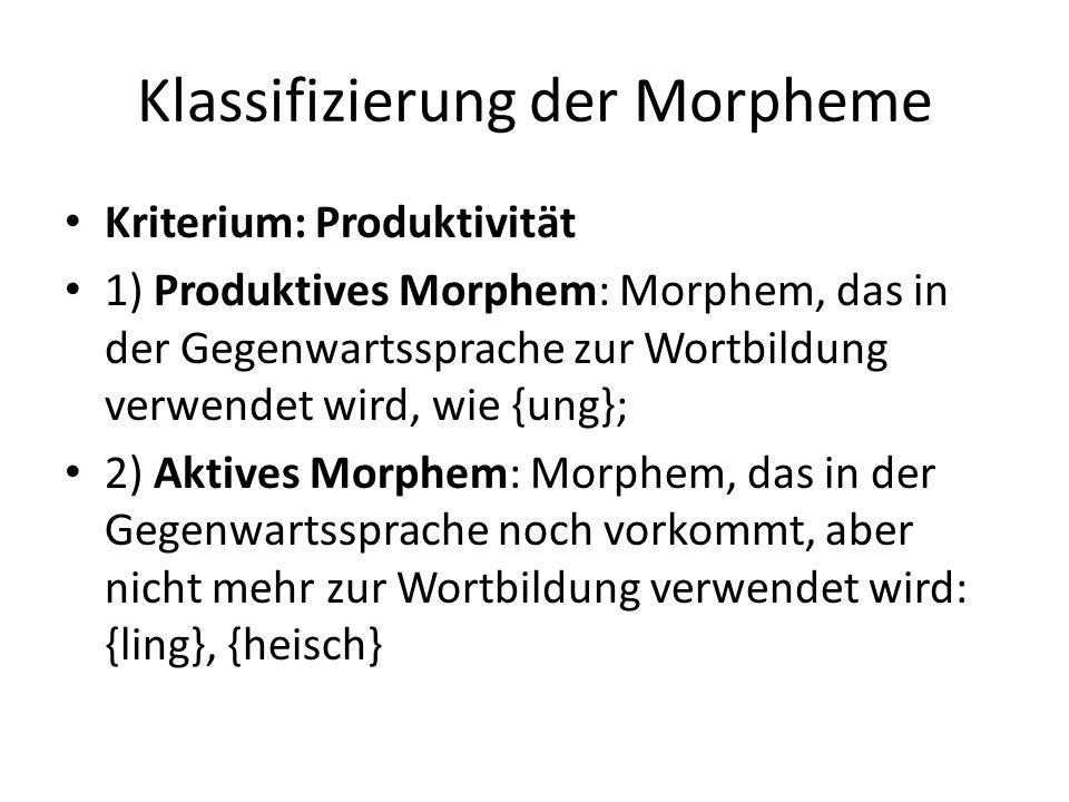 Klassifizierung der Morpheme