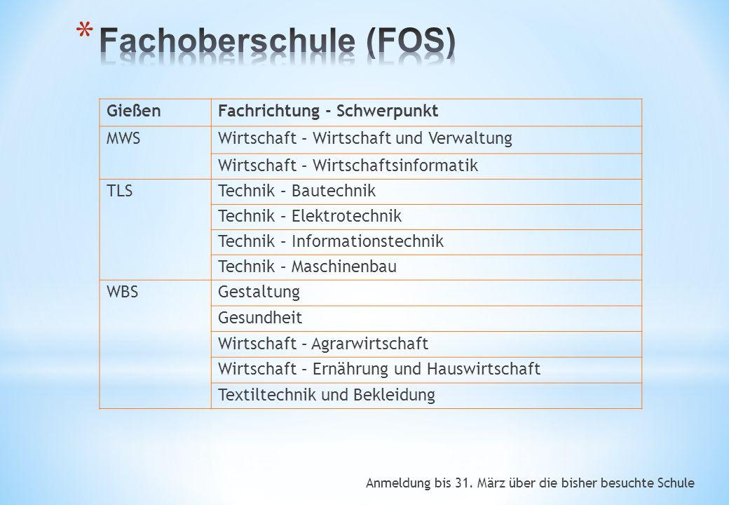 Fachoberschule (FOS) Gießen Fachrichtung - Schwerpunkt MWS