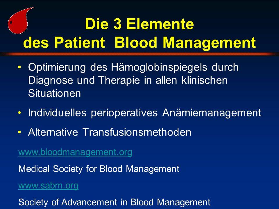 Die 3 Elemente des Patient Blood Management