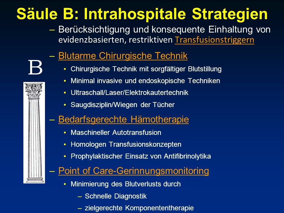 Säule B: Intrahospitale Strategien