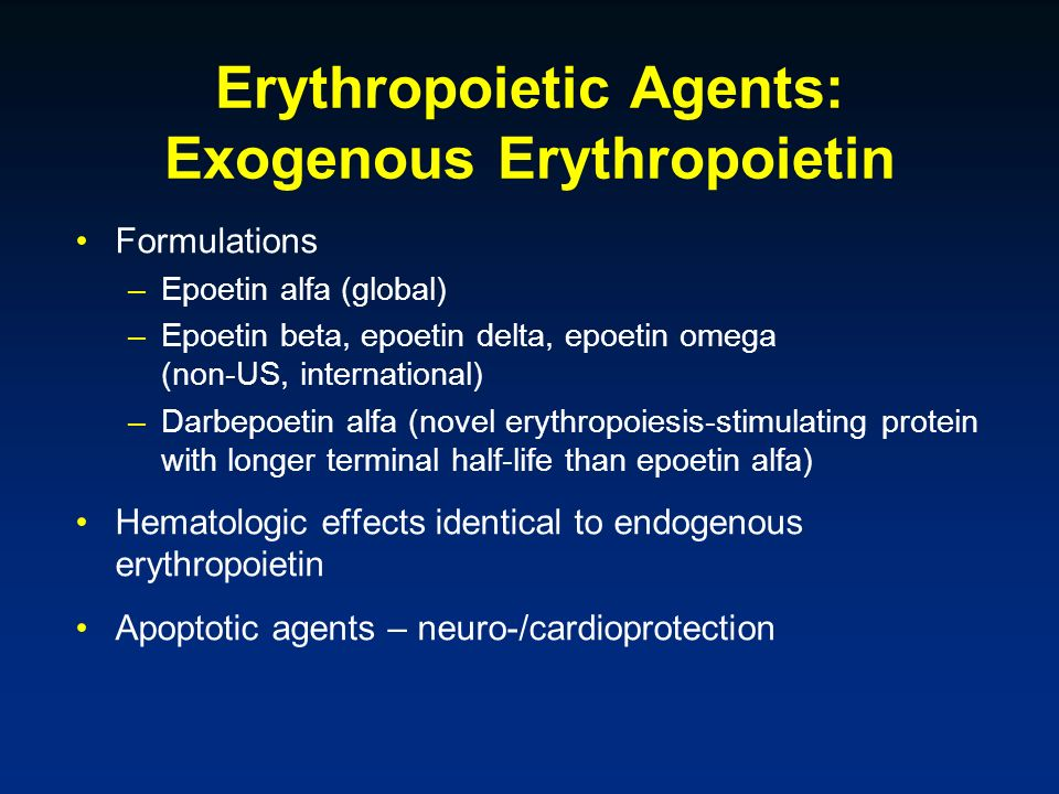 Erythropoietic Agents: Exogenous Erythropoietin