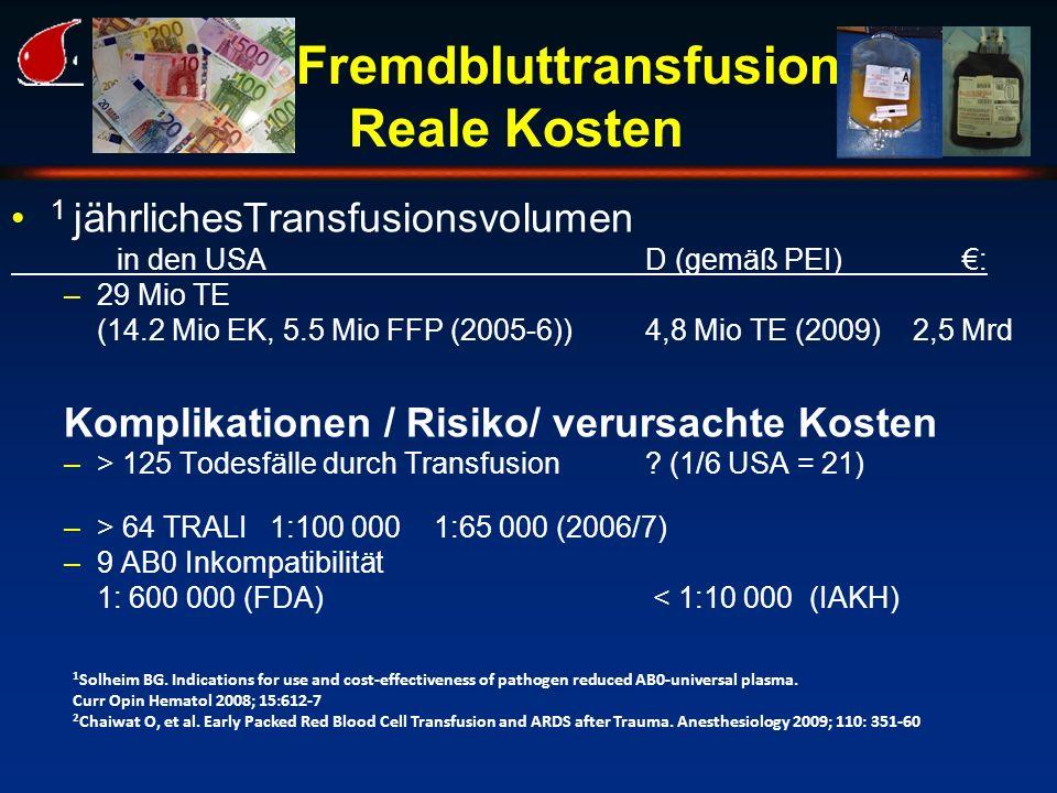 Fremdbluttransfusion Reale Kosten
