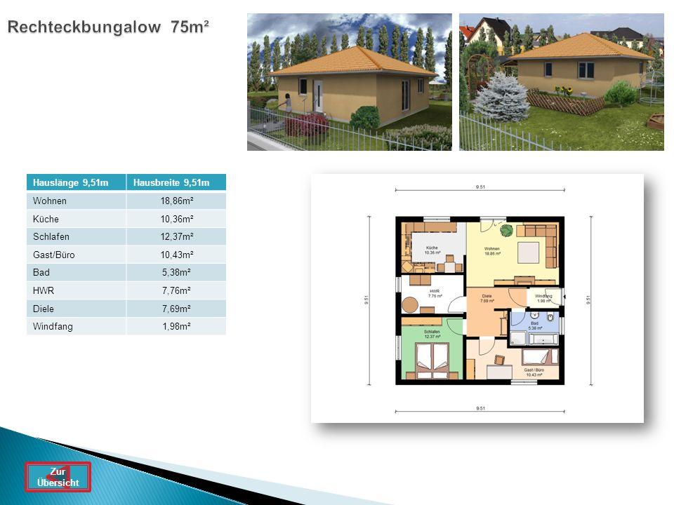 Rechteckbungalow 75m² Hauslänge 9,51m Hausbreite 9,51m Wohnen 18,86m²