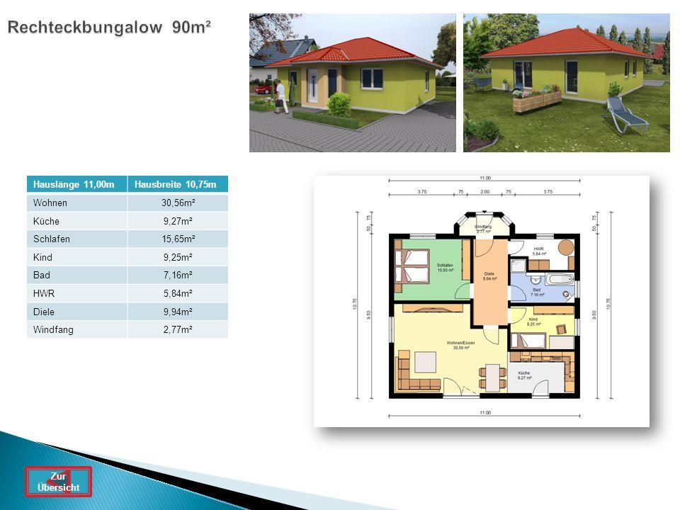 Rechteckbungalow 90m² Hauslänge 11,00m Hausbreite 10,75m Wohnen