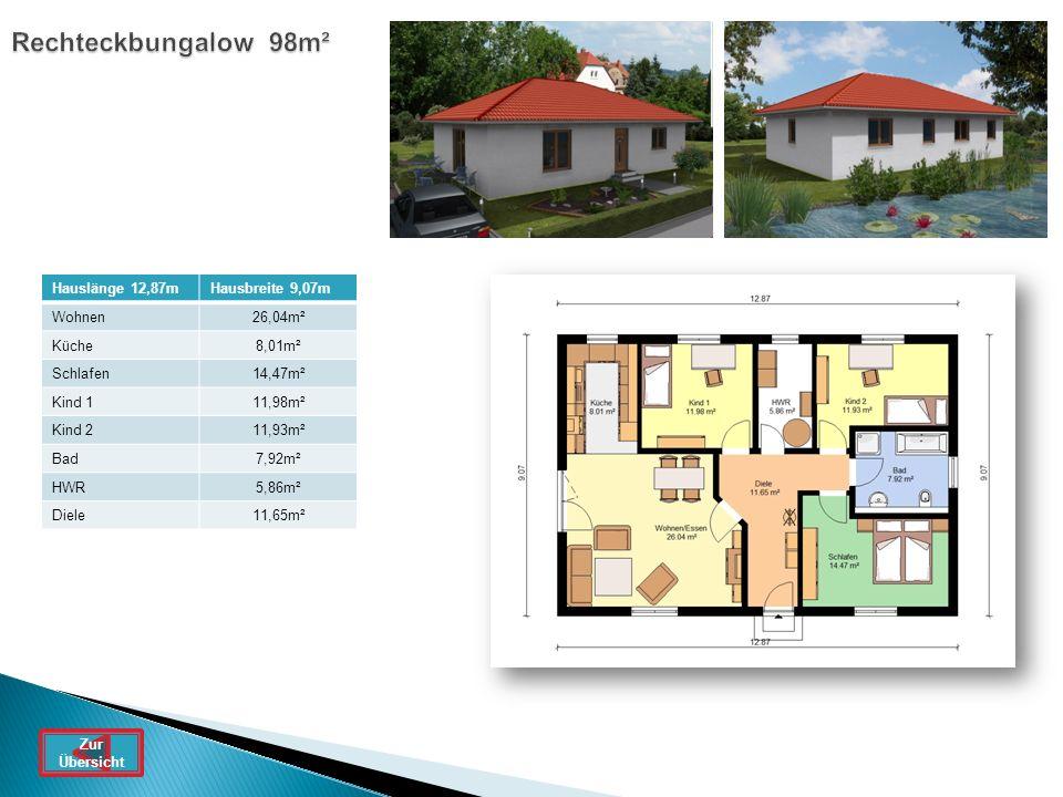 Rechteckbungalow 98m² Hauslänge 12,87m Hausbreite 9,07m Wohnen 26,04m²