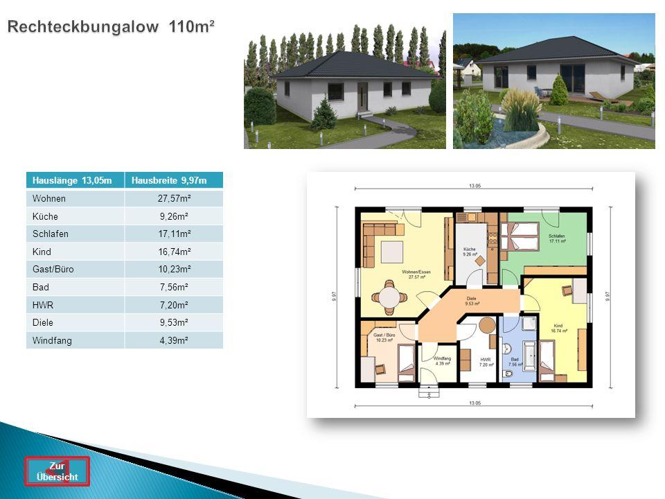 Rechteckbungalow 110m² Hauslänge 13,05m Hausbreite 9,97m Wohnen