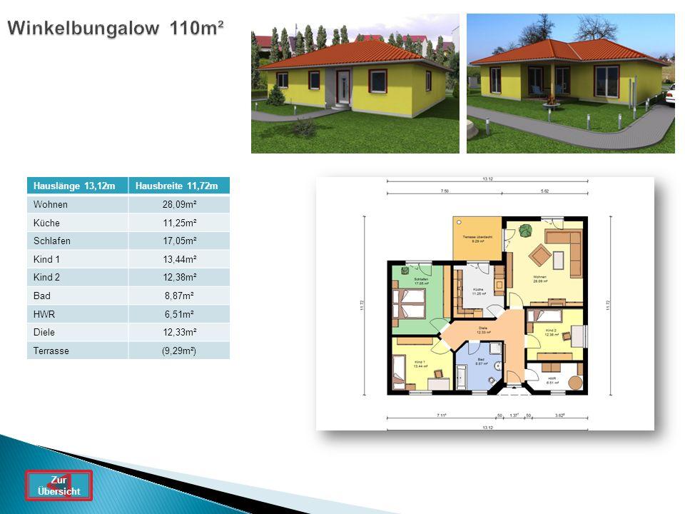 Winkelbungalow 110m² Hauslänge 13,12m Hausbreite 11,72m Wohnen 28,09m²