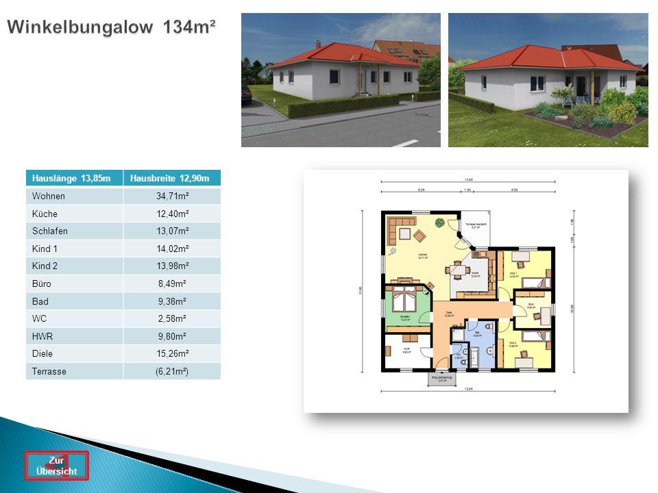 Winkelbungalow 134m² Hauslänge 13,85m Hausbreite 12,90m Wohnen 34,71m²