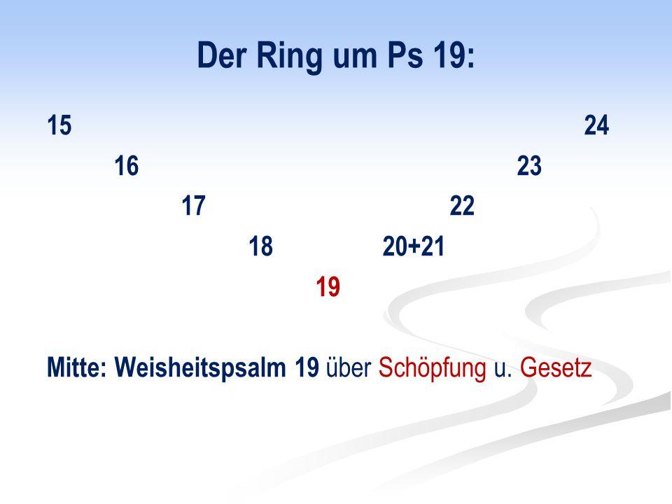 Der Ring um Ps 19: 15 24 16 23 17 22 18 20+21 19 Mitte: Weisheitspsalm 19 über Schöpfung u. Gesetz