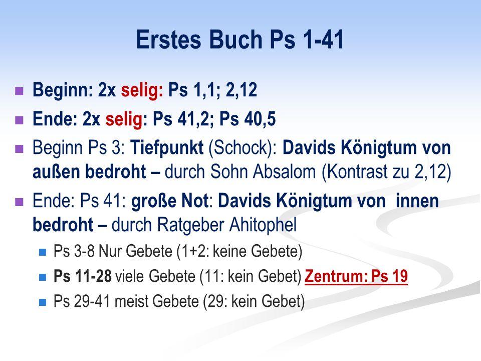 Erstes Buch Ps 1-41 Beginn: 2x selig: Ps 1,1; 2,12