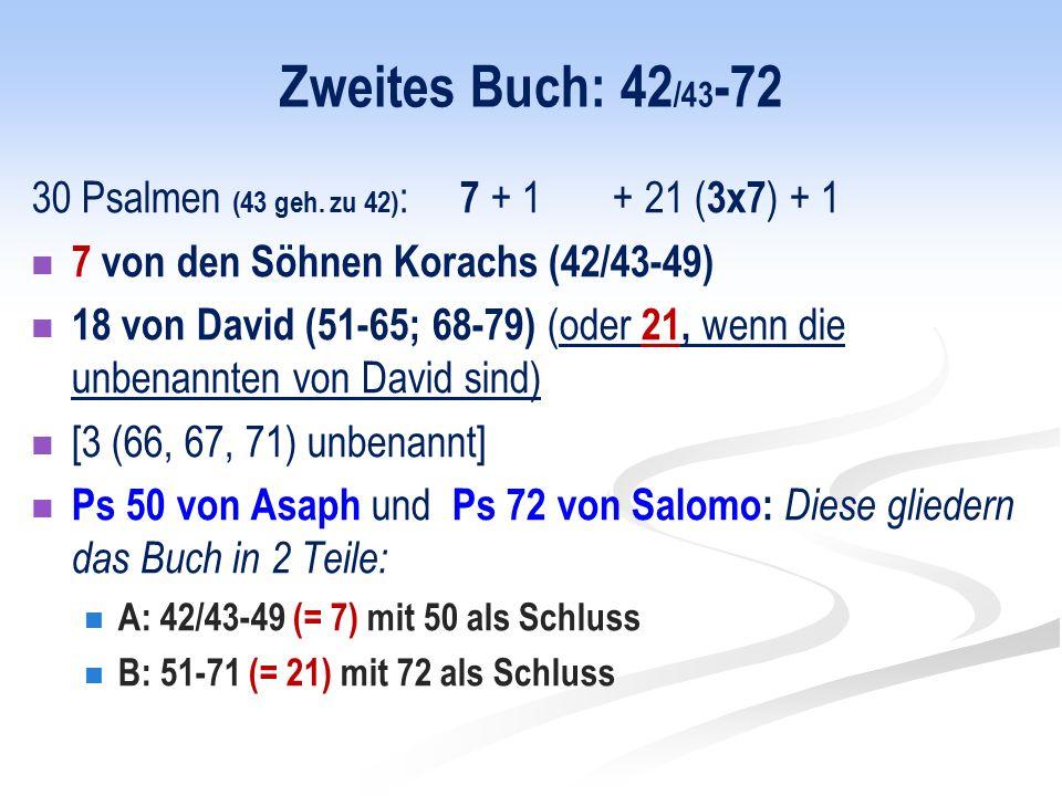 Zweites Buch: 42/43-72 30 Psalmen (43 geh. zu 42): 7 + 1 + 21 (3x7) + 1. 7 von den Söhnen Korachs (42/43-49)