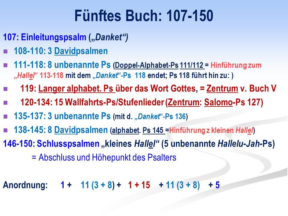 """Fünftes Buch: 107-150 107: Einleitungspsalm (""""Danket )"""