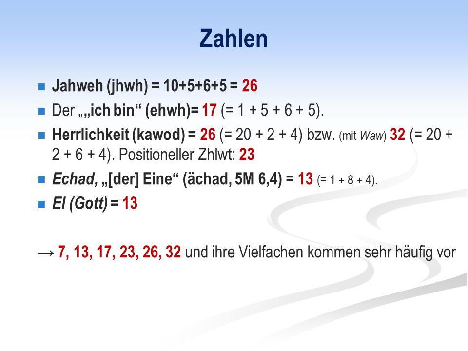 Zahlen Jahweh (jhwh) = 10+5+6+5 = 26