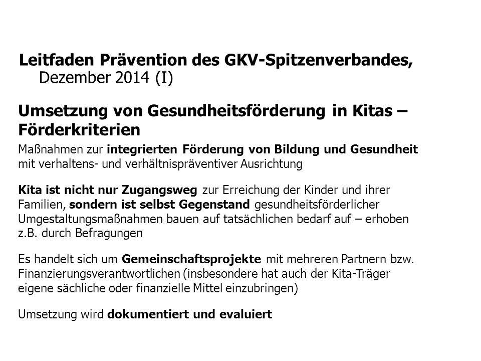 Leitfaden Prävention des GKV-Spitzenverbandes, Dezember 2014 (I)