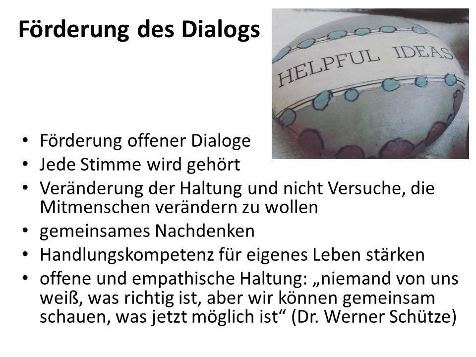 Förderung des Dialogs Förderung offener Dialoge