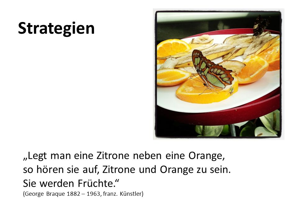 """Strategien """"Legt man eine Zitrone neben eine Orange,"""