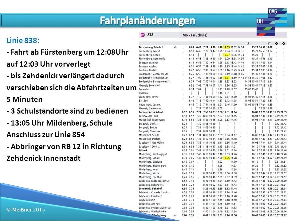 Fahrplanänderungen Linie 838: - Fahrt ab Fürstenberg um 12:08Uhr